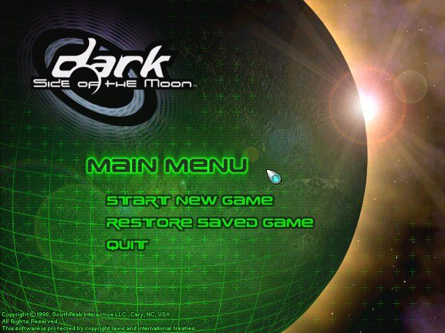 Dark Side of the Moon Windows Main Menu