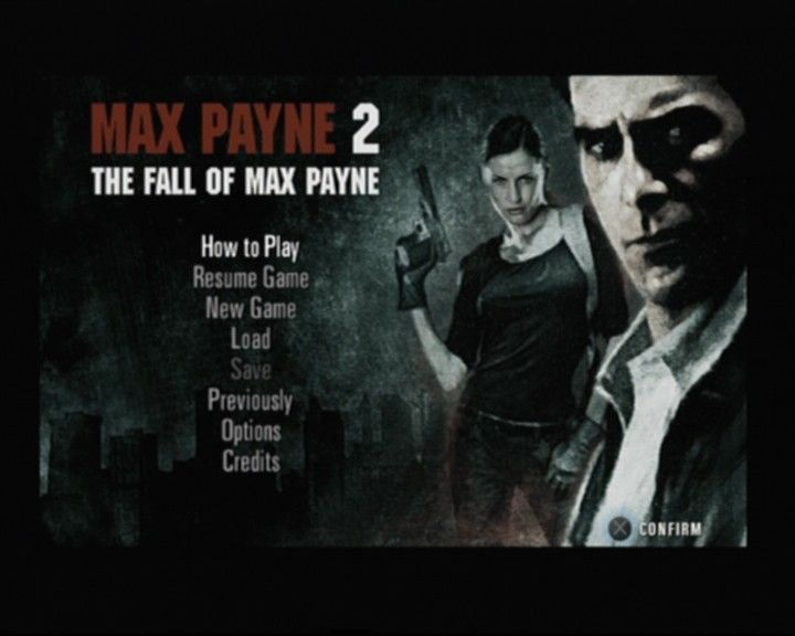Max Payne 2: The Fall of Max Payne PlayStation 2 Main Menu