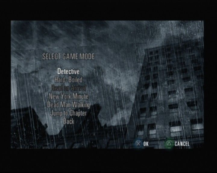 Max Payne 2: The Fall of Max Payne PlayStation 2 Selecting the game mode (more unlock after you finish the game)