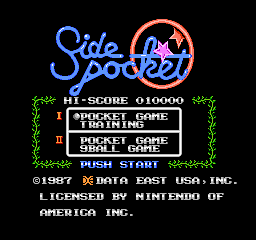 Side Pocket NES Title screen (US version)
