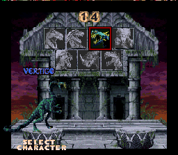 Primal Rage SNES Selecting a primal fighter.