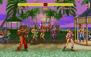 Super Street Fighter II DOS Fight against a colorful Jamaica backdrop