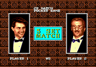 Side Pocket Genesis 2-Player Match screen: both human players are represented by two black-tied guys.