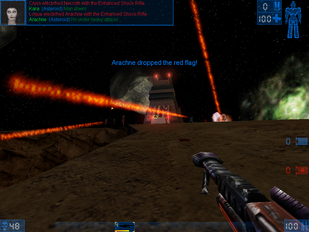 Unreal Tournament Windows Playing a CTF game with InstaGib mutator - one hit from the red rays and you're dead.