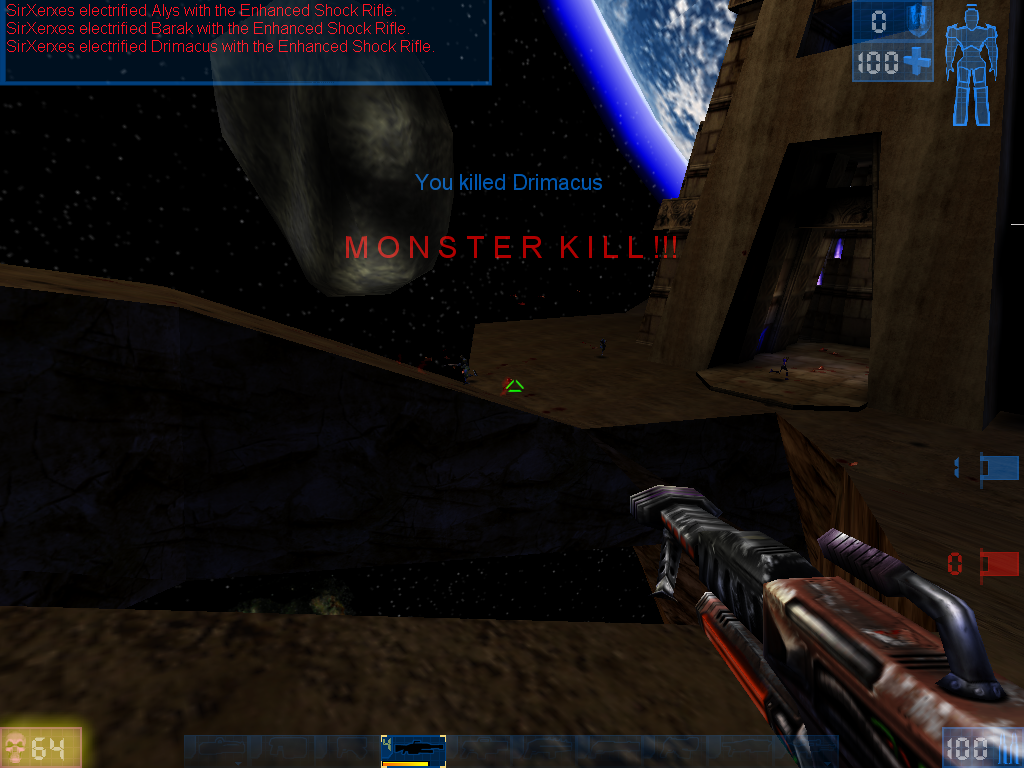 "Unreal Tournament Windows The good old ""Monster Kill"" (at least 5 kills in a row during a short time interval) - this is rather hard to accomplish in a 32 player InstaGib game."
