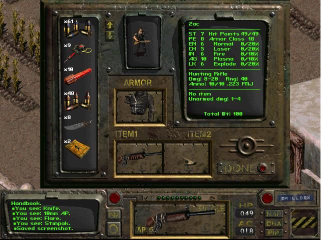Fallout Windows Displaying the inventory. Man with a gun!..