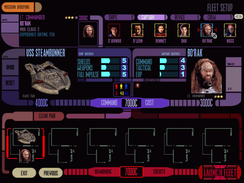 Star Trek: Deep Space Nine - Dominion Wars Windows In the Fleet Setup screen we determine the composition and crew of our fleet according to available credits