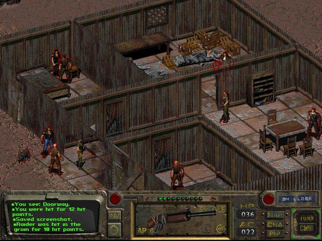 Fallout Windows Early combat: kick down the door and open fire against some raiders.