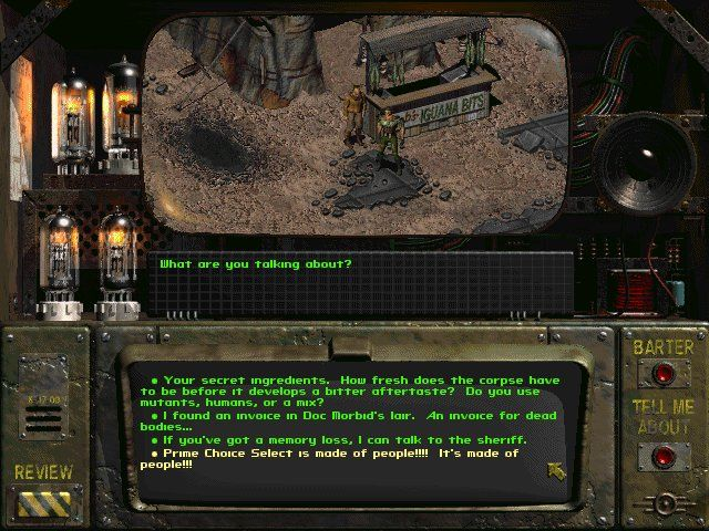Fallout Windows Cuisine morality after The Bomb
