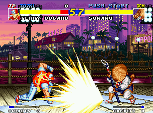 Real Bout Fatal Fury Neo Geo Trying to minimize Terry's Round Wave damage, Sokaku Mochizuki assumes his defensive posture.