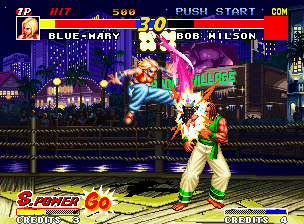 Real Bout Fatal Fury Neo Geo Following the same Joe's strategy, Mary uses her Spin Fall in Bob, originating a hard-hitting blow!