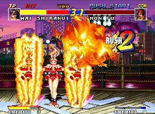 Real Bout Fatal Fury Neo Geo Mai's luck moment: she does a Kagero no Mai and stops Hon Fu's combo at time: he made only 2 hits...