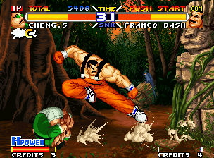 Real Bout Fatal Fury Special Neo Geo Cheng makes his Ground Roll (with C Button), frustrating Bash's chances of hit him with an air kick.