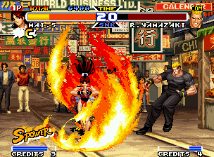 Real Bout Fatal Fury Special Neo Geo Mai Shiranui attacks Yamazaki with a redesigned Kagero no Mai, but he escapes from it quickly.