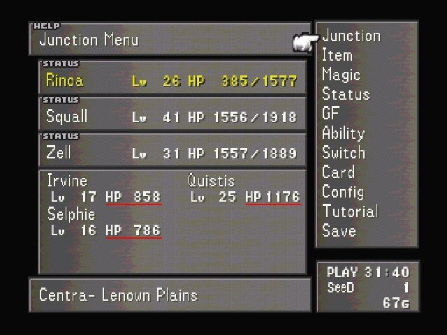 Final Fantasy VIII Windows Ingame menu you'll use often on maximum level.