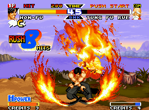 Real Bout Fatal Fury Special Neo Geo Tung's offensive was intercepted by Hon-Fu's Honou no Taneuma, making a hotting-burning 8-hit combo.