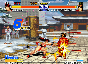 Real Bout Fatal Fury Special Neo Geo Benefited by Chonshu's open guard, Mai connects successfully her combo-type move Midare KaCho Sen.