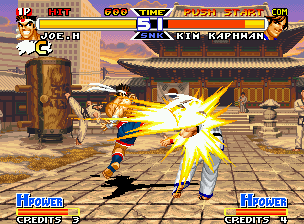 Real Bout Fatal Fury Special Neo Geo Joe uses a bit of his power in a fast and accurate Slash Kick: now, Kim is get on target this time!