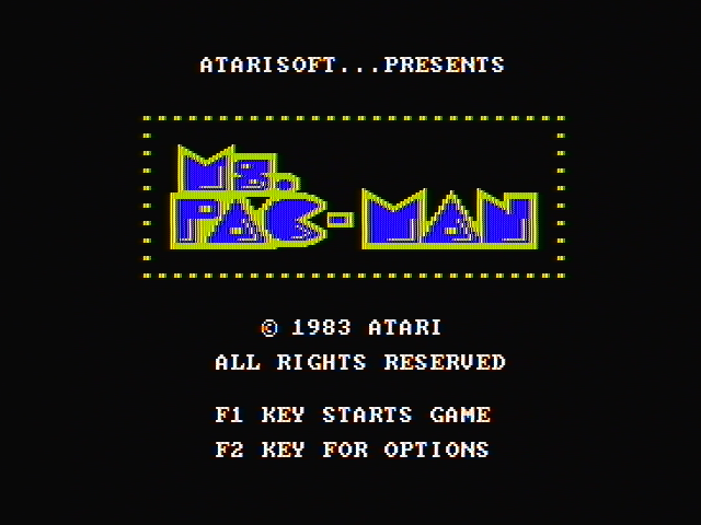 Ms. Pac-Man PC Booter Title screen (CGA with composite monitor)