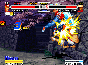 Real Bout Fatal Fury Special Neo Geo Doing a 3-hit combo with a Power Dunk, Terry launches Sokaku in the wall, that it's almost breaking.