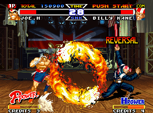Real Bout Fatal Fury Special Neo Geo Using the background plane for his defensive, Joe was able to avoid Billy Kane's Cho Kaen Senpu Kon.
