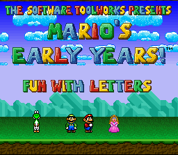 Mario's Early Years: Fun With Letters SNES Title Screen
