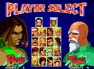 "Real Bout Fatal Fury 2: The Newcomers Neo Geo Now, select the first opponent to battle (why didn't write ""Enemy Select""?)."