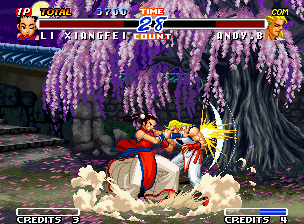 Real Bout Fatal Fury 2: The Newcomers Neo Geo If made close to the opponent, Xiangfei's hyper move Power Claw will reach a impressive 100-hit sum!