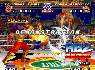 Real Bout Fatal Fury 2: The Newcomers Neo Geo Demonstration mode: in a full arena, Krauser's Blitz Ball and Joe's Hurricane Upper rules the fight!