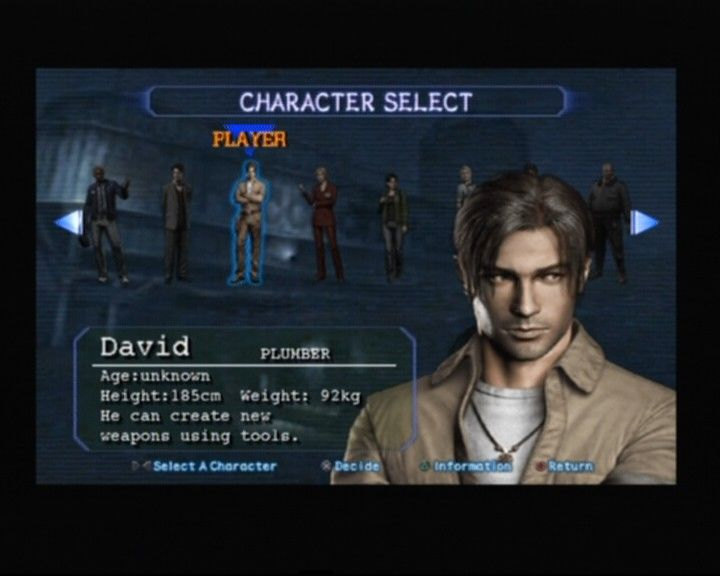 Resident Evil: Outbreak PlayStation 2 Character selection, David