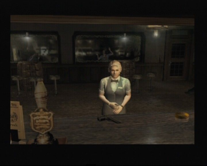Resident Evil: Outbreak PlayStation 2 Playing as Cindy... that looks like a handy gun there on the counter