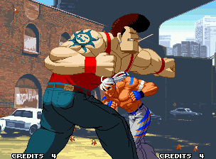 Real Bout Fatal Fury 2: The Newcomers Neo Geo Introduction frame – the wandering fighter Rick Strowd finds the best chance to smash a big bad guy.