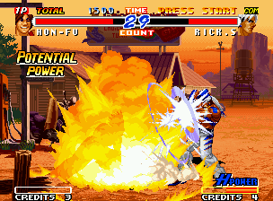 Real Bout Fatal Fury 2: The Newcomers Neo Geo Using a lucky moment, Rick has found a opportunity to block Hon-Fu's hyper move Storm In Gadentsa.
