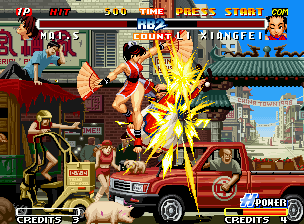 Real Bout Fatal Fury 2: The Newcomers Neo Geo Mai Shiranui chooses Xiangfei to be the first victim of her new hyper move Fan Whirlwind: a success!