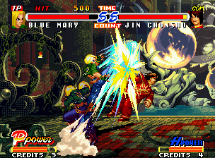 Real Bout Fatal Fury 2: The Newcomers Neo Geo After using the hyper move M. Power, Blue Mary can use some extra moves, like her Vertical Arrow.