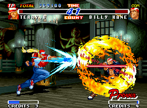 Real Bout Fatal Fury 2: The Newcomers Neo Geo Impossible mission for Terry: stop Billy's Flame Whirlwind Pole using only a simple Burn Knuckle...