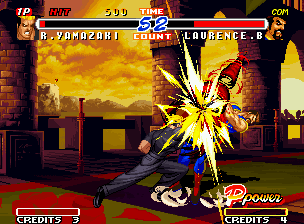 Real Bout Fatal Fury 2: The Newcomers Neo Geo Look for the red-shape-power in Yamazaki's arm and think: why his hyper move is called Yondan Drill?