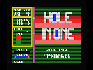 Hole in One MSX Title Screen