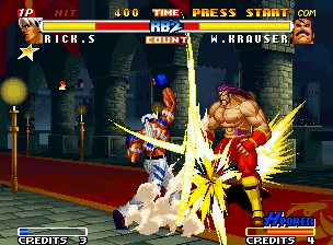 "Real Bout Fatal Fury 2: The Newcomers Neo Geo It's night in Krauser's castle and Rick strikes the ""Almighty"" of that place with a Cross Slasher."