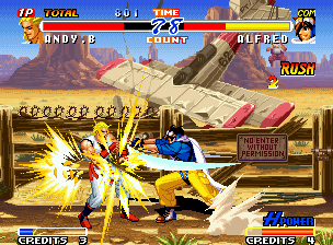 Real Bout Fatal Fury 2: The Newcomers Neo Geo Fighting in a desert type stage, the pilot-fighter Alfred connects his Critical Wing move in Andy.