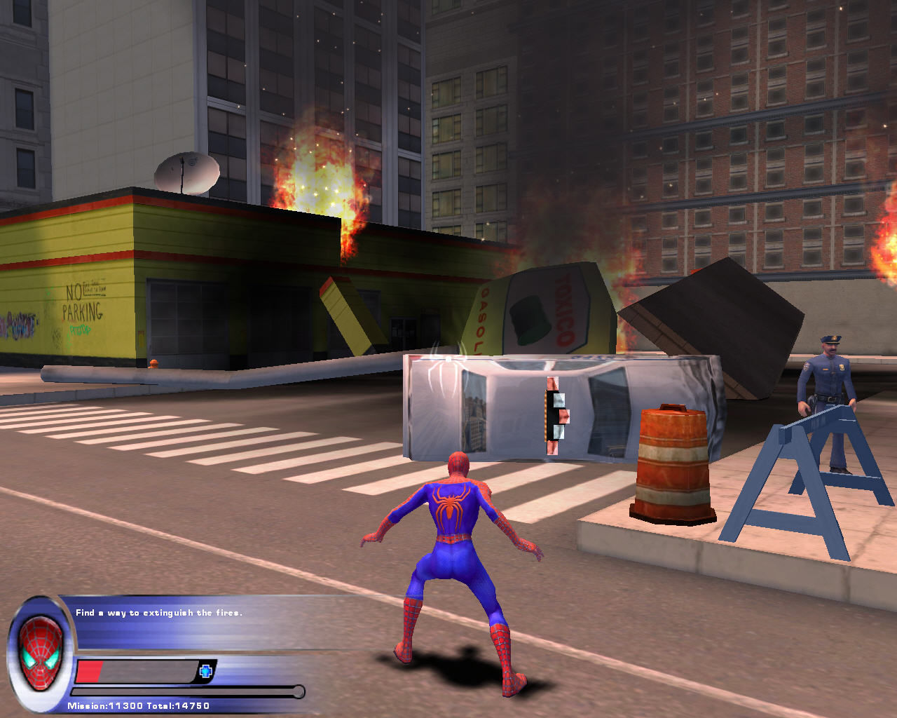Spider-Man 2: The Game Windows Spider-Man must find a way to extinguish fire.