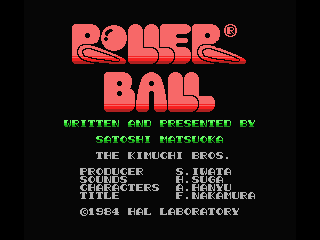 Rollerball MSX Title screen