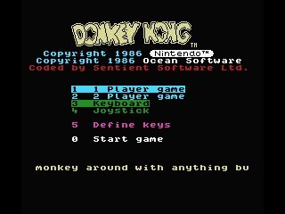 Donkey Kong MSX Title and play select screen