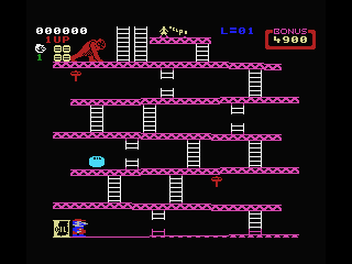 Donkey Kong MSX Objects are falling but let's climb to the top.