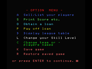 Football Manager MSX Options screen