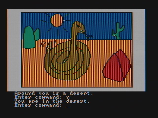 Hi-Res Adventure #2: The Wizard and the Princess PC Booter A rather large snake here! (CGA with composite monitor)