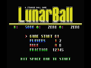 Lunar Pool MSX Options select screen