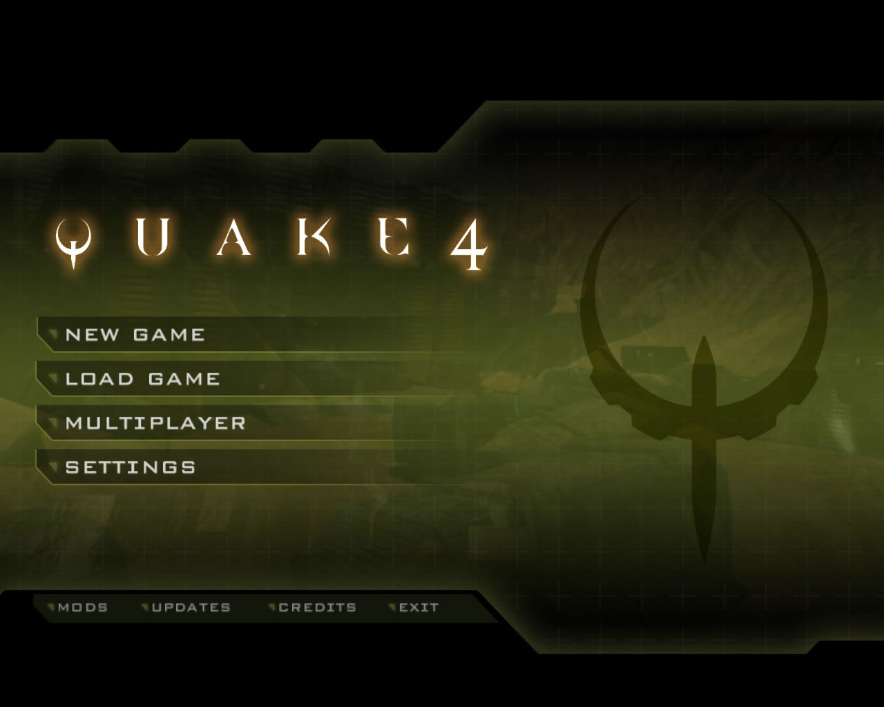 Quake 4 Windows Main menu.