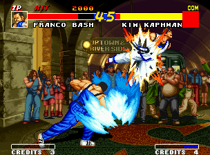 Real Bout Fatal Fury Neo Geo Franco Bash stopping Kim's air attack with his super move Final Omega Shot: a mega-punch of faith!