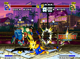 Real Bout Fatal Fury Neo Geo Demonstration mode: Duck King applies the dancing-hitting super move Break Spiral in his alter-ego.